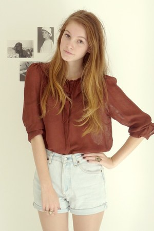 brick red silk Zara shirt - beige trench Zara coat