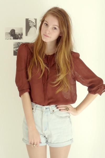 brick red silk Zara shirt - beige trench Zara coat