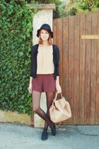 black floppy H&M hat - neutral leather Zara bag - maroon asos shorts