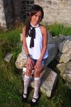 silk Club Monaco shirt - Forever 21 purse - denim shorts American Eagle shorts