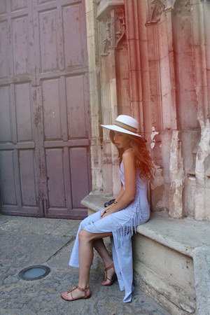 white woven Anthropologie hat - silver maxi boutique dress