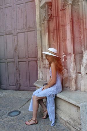 white woven Anthropologie hat - silver maxi boutique dress