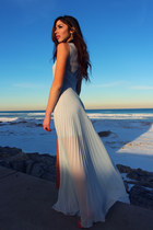light blue gown bcbg max azria dress - camel bcbg max azria jacket