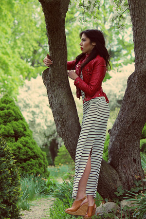 leather thrifted jacket - striped maxi One Clothing dress