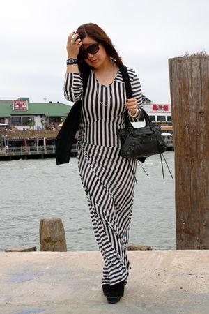 acne dress - Zara boots - Zara vest - balenciaga purse
