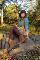 blue banana republic sweater - beige Forever 21 dress - brown Rocket Dog boots -