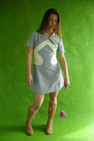 gray Empress Jade Vintage dress - brown Emrpess Jade Vintage boots