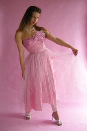 pink Vintage 50s Strapless Party Dress dress