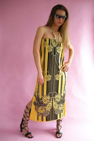 yellow Mr Dino dress - black battani shoes