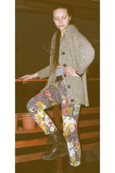 light brown floral Cavalli jeans