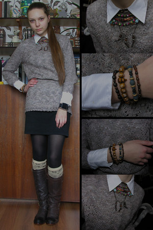 white basic shirt - black bodycon dress - camel knit handmade sweater