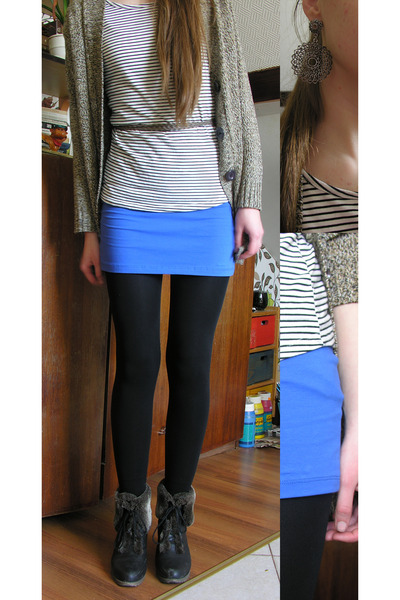 blue bodycon New Yorker skirt - black opaque tights - tan knit thrifted cardigan