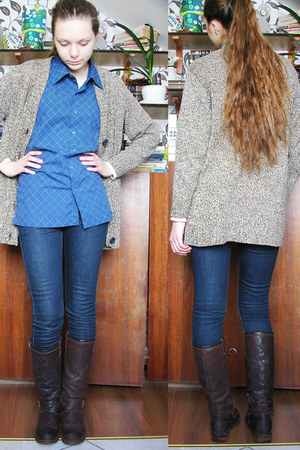 blue checkered shirt - dark brown winter boots - camel knit thrifted cardigan