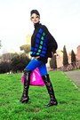 Black-kallistè-boots-black-zara-sweater-hot-pink-bon-bon-bag