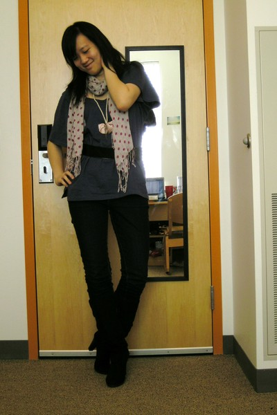 black belt - black Zara boots - blue Uniqlo jeans - purple RVCA shirt