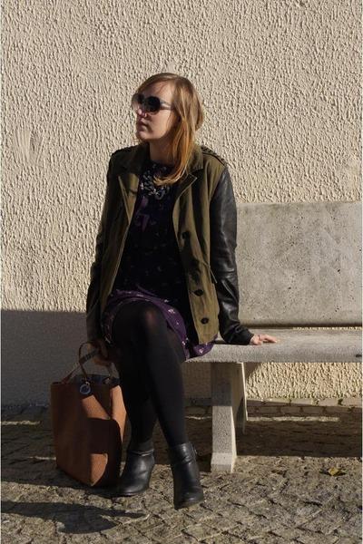 olive green Forever 21 jacket - black Dorothy Perkins boots