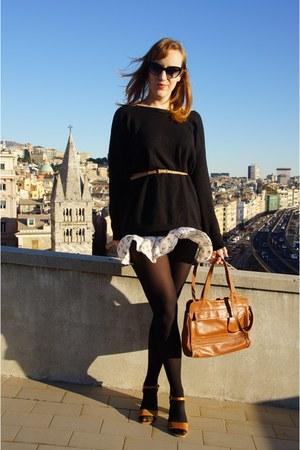 camel vintage purse - black etam sweater - black Dolce & Gabbana sunglasses