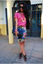 Primark skirt - Prada sunglasses - Lefties heels - BLANCO t-shirt