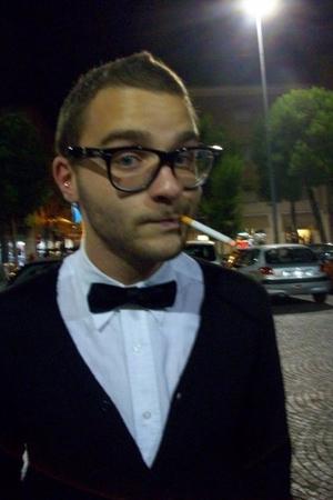 white maison martin margiela shirt - black Zara sweater - black Papillon from my