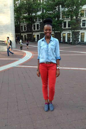 light blue denim shirt shirt - navy shoes - red skinny jeans jeans