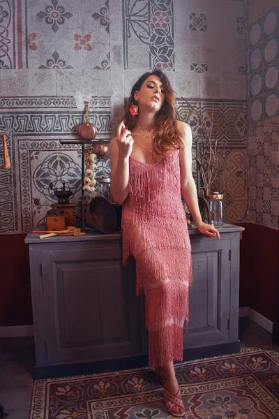 red poppy Anton Hunnis earrings - pink fringe asos dress