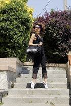 black & other stories top - black quilted weekend Moschino bag