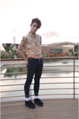 mustard asos shirt - Pepe Jeans jeans - Creeper shoes flats