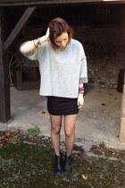 black shoes - black dress - silver Zara jumper