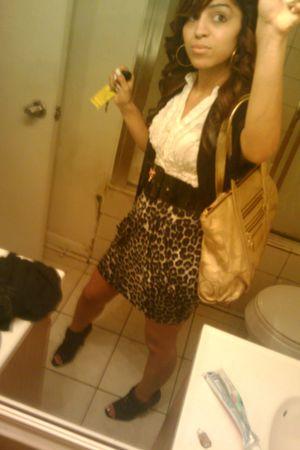 gray skirt - black belt - gray mandees shoes - gold coach bag