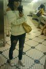 Gold-coach-bag-gold-coach-shoes-beige-h-m-top-blue-rave-jeans