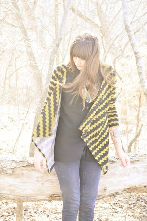 gold modcloth cardigan - black H&amp;M top - sky blue World Market necklace