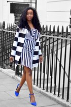 black asos dress - blue Primark shoes - black coat - black sunglasses