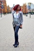 black H&M boots - white Topshop shirt - silver H&M skirt