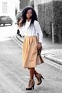 Tan-missguided-skirt-white-blouse