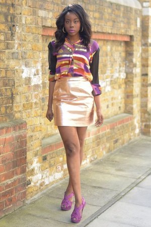 purple new look shoes - black asos shirt - peach River Island skirt