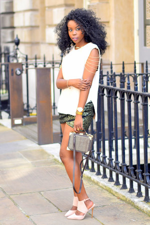eggshell Primark heels - dark brown aspinal of London bag