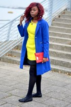yellow Sugar & Style dress - blue H&M jacket - red Dorothy Perkins bag