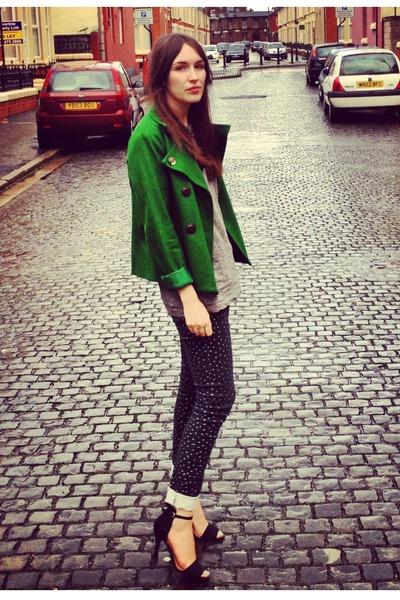 green dv8 jacket - polkadots Primark jeans - grey H&M t-shirt - suede Zara heels