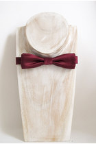 Burgundy heavy weight silk duchess satin pre-tied slim batwing bow tie