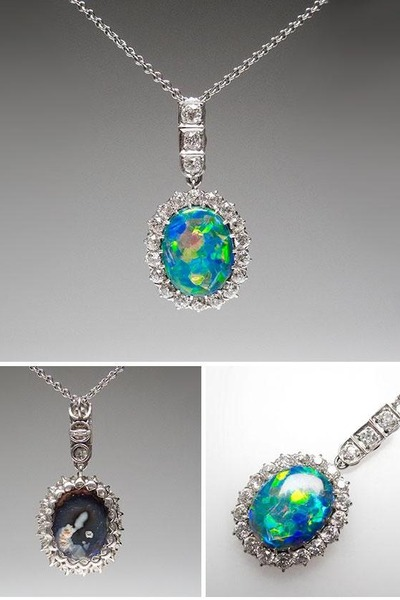 Opal necklaces antique natural solid black opal diamond opal necklace aloadofball Choice Image