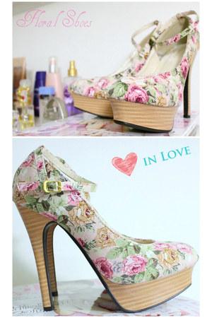 bubble gum floral heels