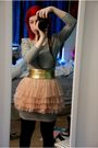 Pink-h-m-skirt-black-h-m-dress-gold-american-apparel-belt
