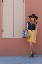 black Nine West hat - mustard Forever 21 skirt