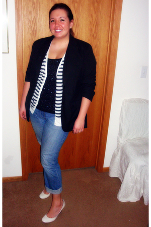 black The Limited blazer - white Old Navy cardigan - black Express top - blue Ga