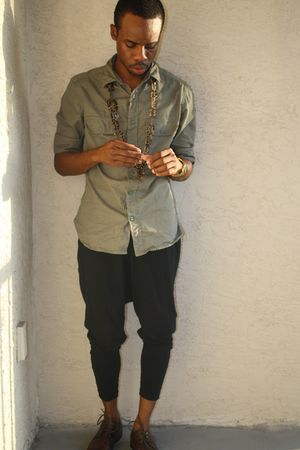 green Gap shirt - black American Apparel pants - brown Aldo shoes