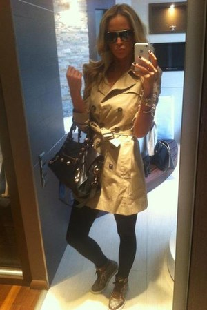 camel coat - Louis Vuitton shoes - Burberry bag - Louis Vuitton glasses