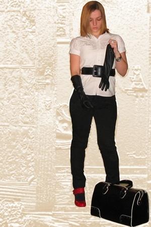 Zara blouse - BLANCO belt - Bershka jeans - asos shoes - asos - Zara purse