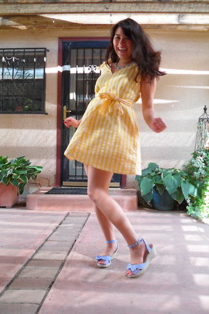 blue necklace - yellow homemade dress - blue shoes
