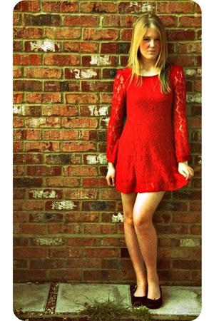 red red lace River Island dress