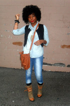 black vest - tawny bag